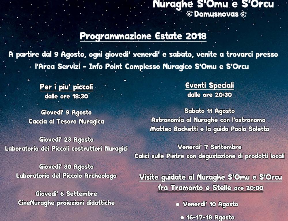 Nuraghe sotto le Stelle – Programma 2018